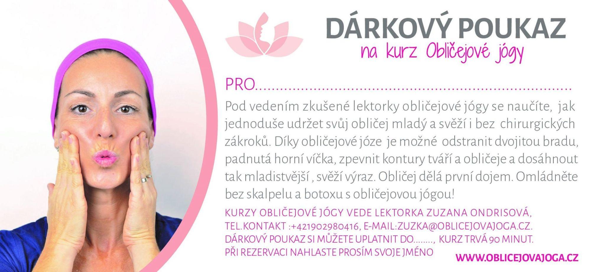 darkovy poukaz Oblicejova joga/Oblicejova gymnastika